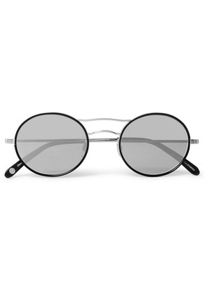 Sanborn 49 Round-frame Silver-tone And Acetate Sunglasses