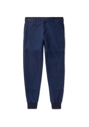 Tapered Indigo-dyed Cotton-twill Trousers