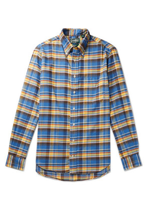 Gitman Vintage - Slim-fit Button-down Collar Checked Brushed Cotton-flannel Shirt - Blue