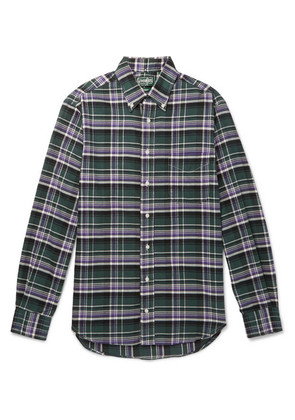 Gitman Vintage - Slim-fit Button-down Collar Checked Brushed Cotton-flannel Shirt - Green
