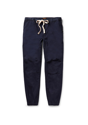 Slim-fit Tapered Cotton-blend Twill Drawstring Trousers
