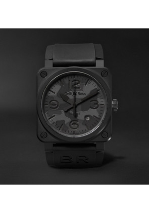 Br 03-92 Black Camo 42mm Ceramic And Rubber Watch