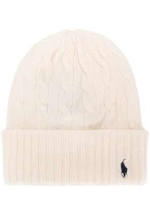 Polo Ralph Lauren cable knit beanie - White