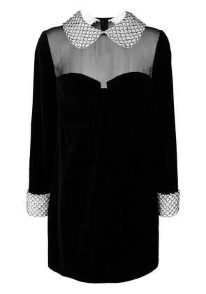 Tom Ford embellished trim velvet shift dress - Black