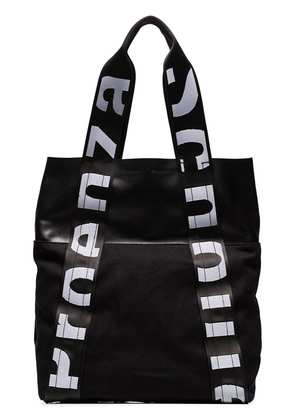 Proenza Schouler black and white Logo strap leather and canvas