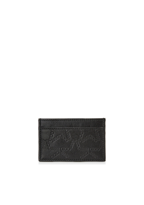 DEAN Black Leather Card Holder with Embossed Star Logo
