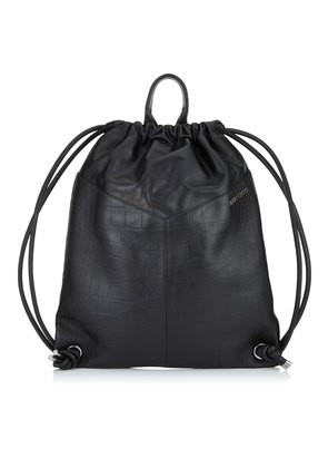 MARLON Black Croc Embossed Satin Leather Drawstring Backpack