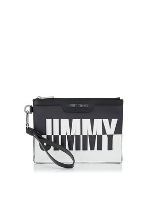DEREK MINI/ID Black and White Bicolour Leather Mini Document Holder with Embossed Logo
