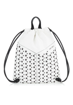 MARLON White and Black Biker Leather Drawstring Backpack with Stars