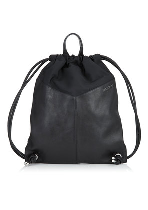 MARLON Black Biker Leather and Nylon Drawstring Backpack with Stars