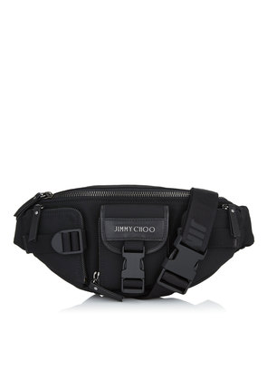 ORION Black Soft Nylon and Satin Leather Belt Bag