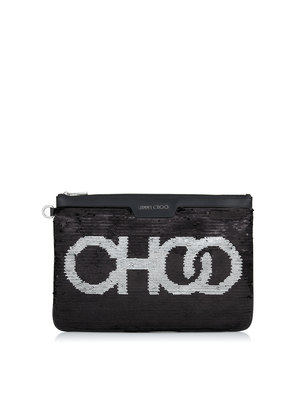 DEREK Black and Silver Choo Sequins Document Holder