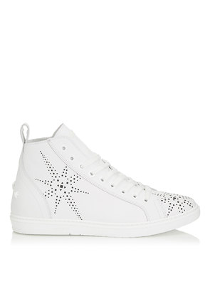 COLT White Sport Calf Leather High Top Trainer with Black Star Preforation