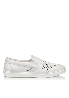 GROVE White Sport Calf Leather Slip on Trainers with Black Star Perforation.