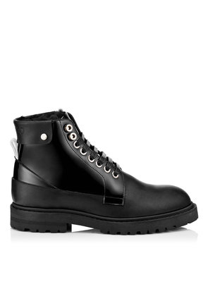 The Voyager: SNOW/M Black Shiny Calf Leather Boots with Heated Soles