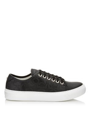 AIDEN Black Leather Low Top Trainers with Embossed Star Logo