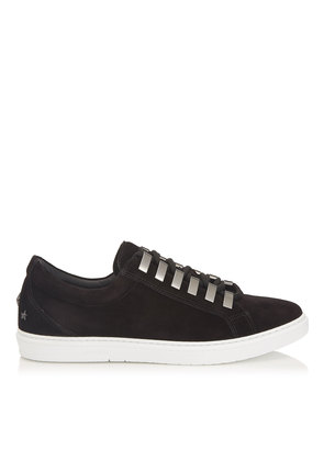 CASH Black Velvet Low Top Trainers with Eyelets