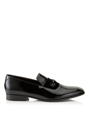 SAWN Black Patent Slipper Shoes with Black Velvet Ribbon Detail and Crystal Stone Detailing