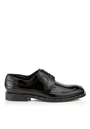 BENI Black Patent Leather Loafers with Crystal Trim