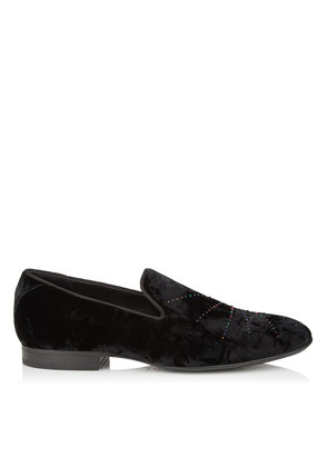 THAME Black and Petrol Mix Crushed Velvet Slipper with Star Crystal Hotfix