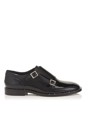 TATE Black Patent Leather Shoe with Baguette Crystal Welt Detailing