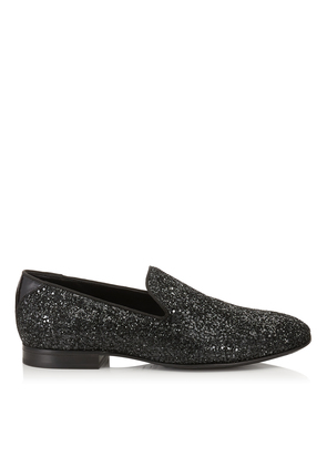 THAME Black Coarse Glitter Fabric Slipper