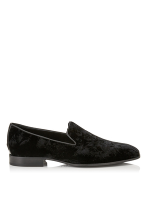 SAUL Black Crushed Velvet Slipper Shoes