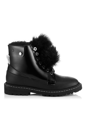 SNOW FLAT Black Shiny Calf Leather Snow Boots with Heated Soles
