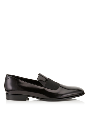 SAWN Black Shiny Calf Slipper Shoes with Grosgrain Ribbon Detail