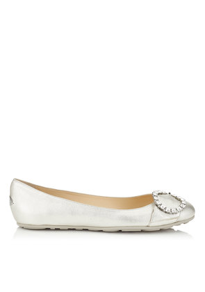 GINNY FLAT Silver Metallic Nappa Leather Flats with Crystal Buckle