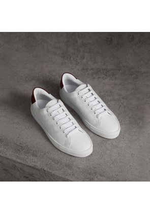 Burberry Perforated Check Leather Sneakers, White