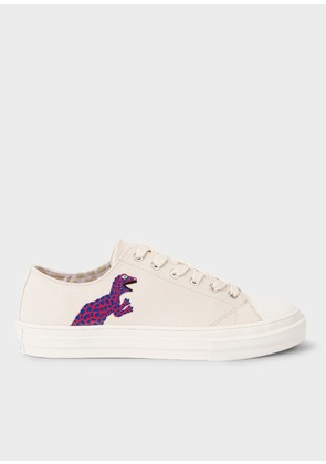 Women's Ecru Canvas 'Kinsey' Trainers With 'Dino' Print