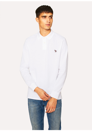 Men's White Organic-Cotton Zebra Logo Long-Sleeve Polo Shirt