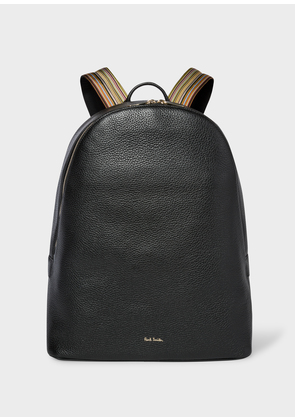 Men's Black Leather Backpack With Signature Stripe Straps