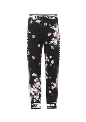 Printed cotton track pants