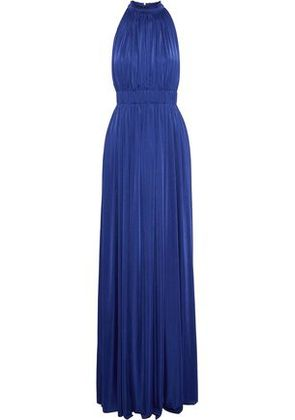 Catherine Deane Woman Gathered Pleated Stretch-jersey Gown Bright Blue Size 6