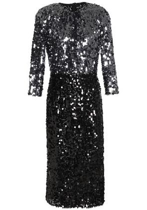 Dolce & Gabbana Woman Two-tone Sequined Tulle Dress Anthracite Size 42