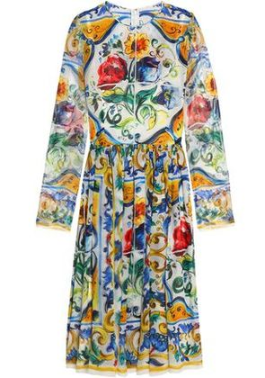 Dolce & Gabbana Woman Pleated Printed Silk-georgette Dress Yellow Size 46