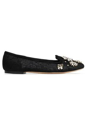 Dolce & Gabbana Woman Crystal-embellished Lace Ballet Flats Black Size 36.5