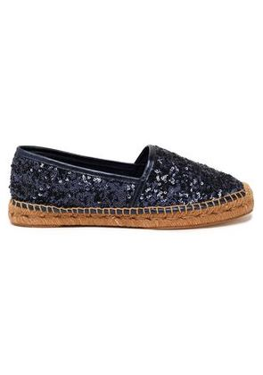 Dolce & Gabbana Woman Sequined Leather Espadrilles Violet Size 36
