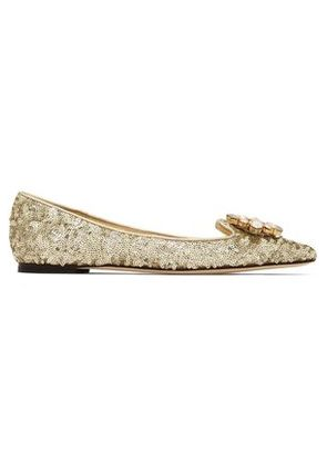Dolce & Gabbana Woman Embellished Point-toe Ballet Flats Gold Size 36.5
