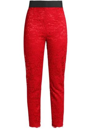 Dolce & Gabbana Woman Corded Lace Skinny Pants Red Size 36