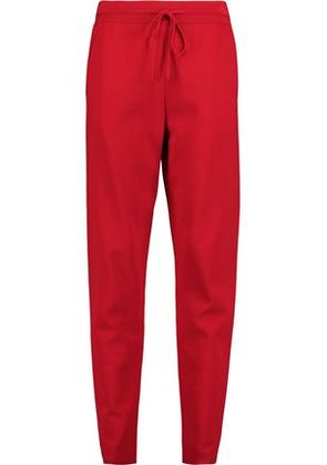Valentino Woman Ponte Tapered Pants Red Size XL