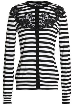 Dolce & Gabbana Woman Lace-appliquéd Striped Silk Cardigan Black Size 38