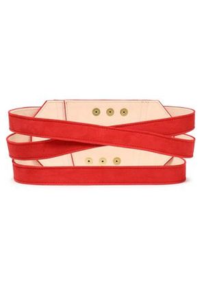 Balmain Woman Suede Belt Red Size 38
