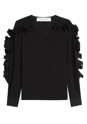 Victoria Victoria Beckham Heavy Silk Top with Structured Ruffle Sleeves