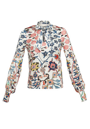 Peter Pilotto Printed Silk Blouse with Self-Tie Bow