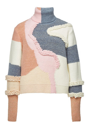 Peter Pilotto Heavy Knit Turtleneck Pullover with Cotton and Wool