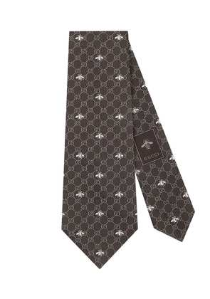 Gucci GG bees silk tie - Brown