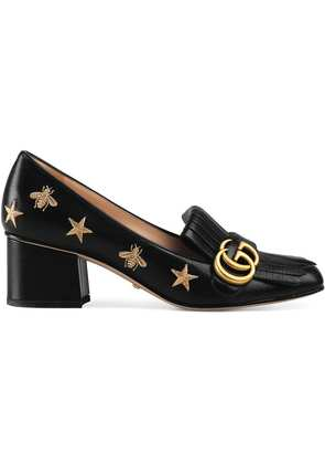 Gucci Embroidered leather mid-heel pump - Black